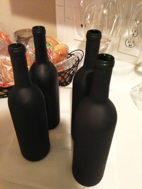 The Lovely Lantern - Spray Painted WIne Bottles